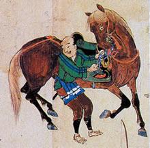 袴の下に股引を着用している姿室町時代の絵巻物「慕帰絵」より